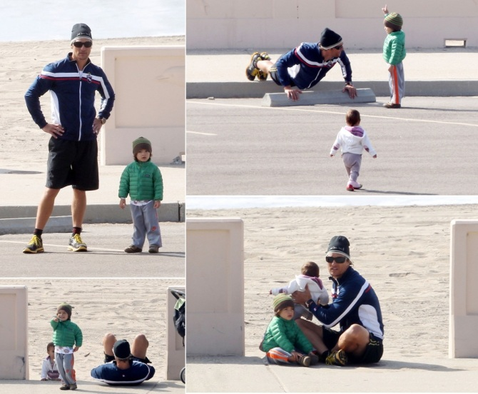 Matthew Mcconaughey with Levi and Vida on the beach