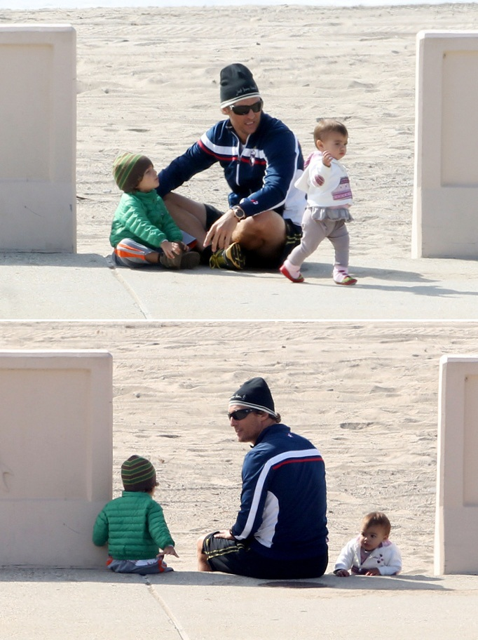 Matthew Mcconaughey with children Levi and Vida on the beach